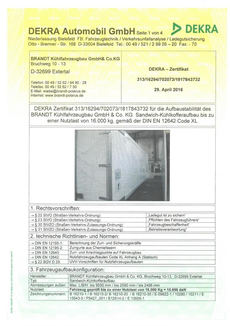 DIN EN 12642 (CODE XL) – LADUNGSSICHERUNG